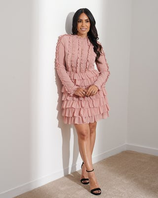 Dusky Pink Frilled Dress