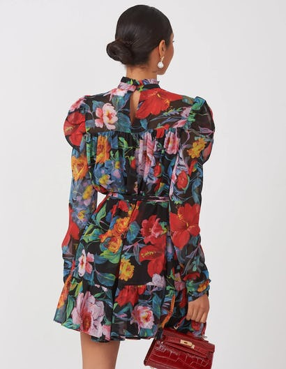 Dark Floral High Neck Mini Dress