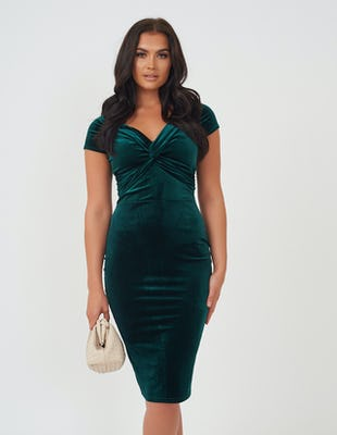 Emerald Green Velvet Midi Dress