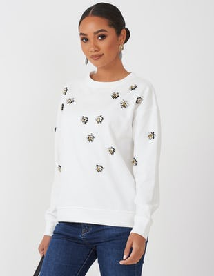 White Jewelled Bee Sweater