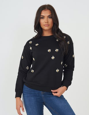 Black Jewelled Bee Sweater