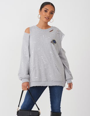 Grey Cold Shoulder Eye Sweatshirt