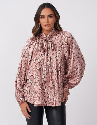 Pink Snake Print Tie-Neck Blouse