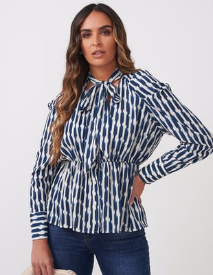 Navy & White Tie Neck Print Blouse