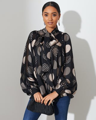 Black Extreme Spot Sheer Shirt