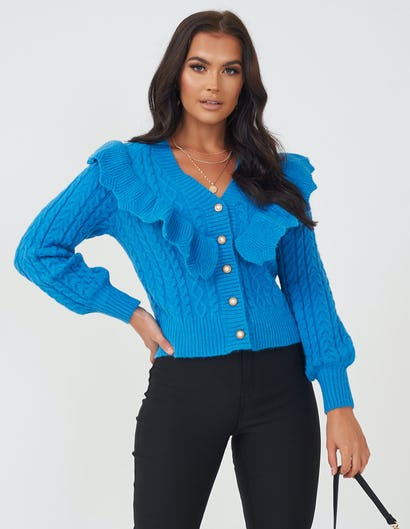 Blue Ruffle Cardigan with Pearl Button Detail