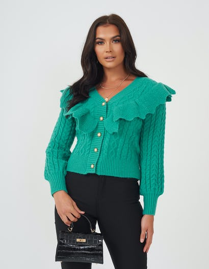 Sea Green Ruffle Cardigan with Pearl Button Detail