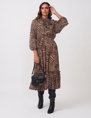 Brown Zebra Print Midi Dress