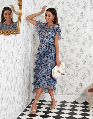 Blue Leopard Print Ruffle Floral Midi Dress