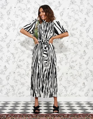Zebra Striped Short Sleeve Midi Dress