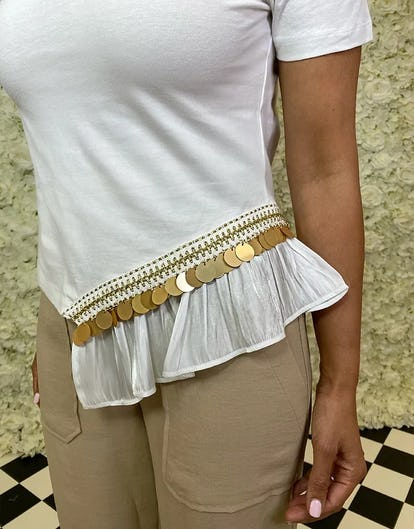White Embellished Hem T-shirt