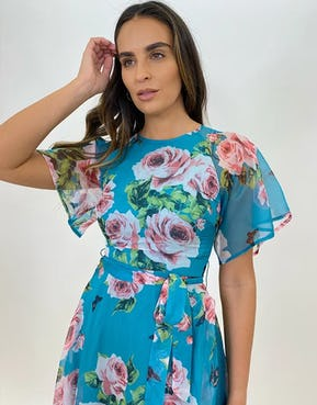 Blue Floral and Butterfly Mix Print Tea Dress