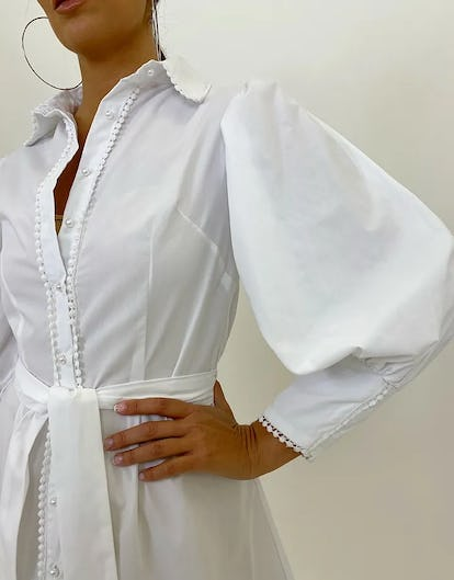White Pearl Button Down Shirt Dress with Lace Trim