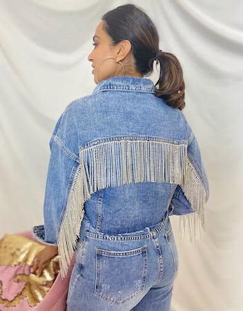 Cropped Light Blue Denim Jacket with Diamante Fringe