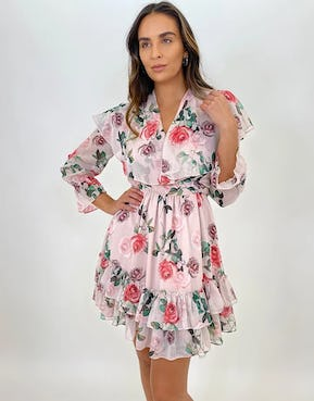 Rose Print Ruffle Mini Dress