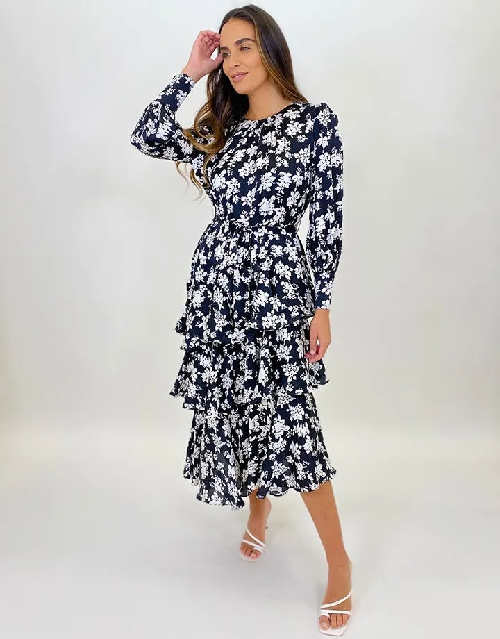 UC Black and White Floral Three Tier Maxi Dress - 10