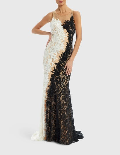 CELINE - Black and Ivory Contrast Embroidered Lace Maxi Dress