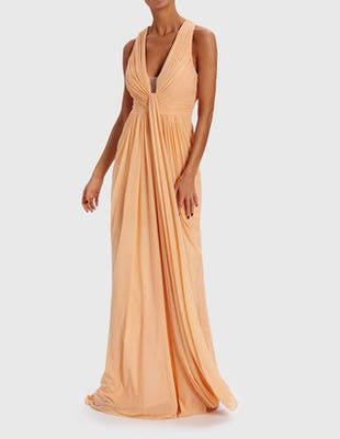 LOWRI - Nude Grecian Wrap Maxi Dress With Crossover Back