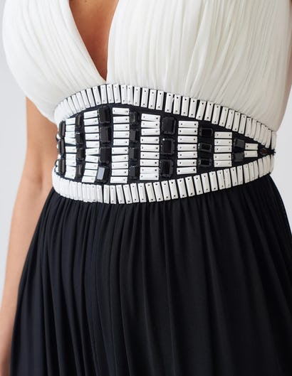 Black and White Crinkle Effect Jumpsuit with Embellished Waist
