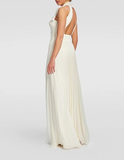 White High-Neck Floor-Length Dress with Bow Tie Detail
