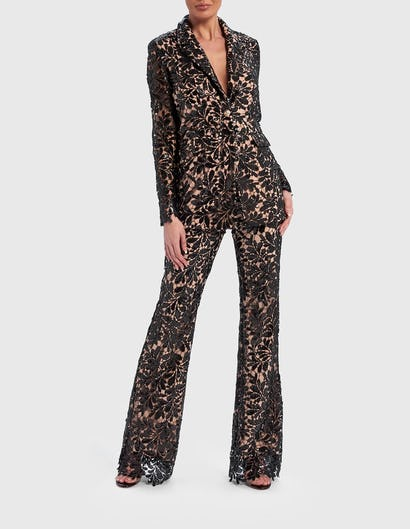 Black and Nude Floral Lace Sequin Suit Jacket