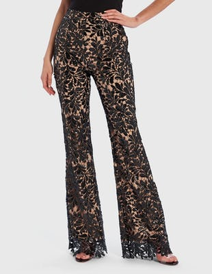 Black Sequin Floral Lace Embroidered Tailored Suit Trousers