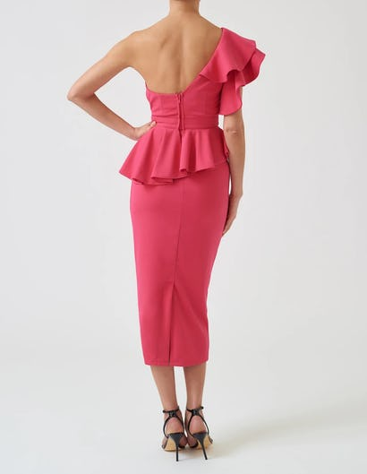 Pink One-Shoulder Ruffle Top and Skirt Co-ord Set