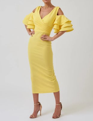 Lime Cold-Shoulder Frill Bodycon Midi Dress