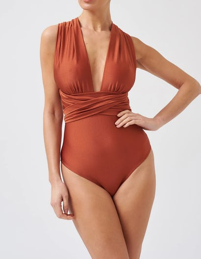 Metallic Bronze Multi-Way Tie Swimsuit
