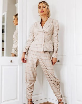 Classic Check Suit with Sleeve Detail