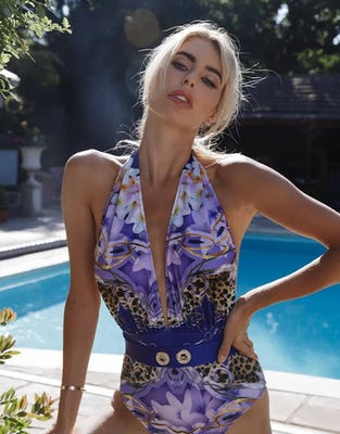 Luxury Baroque Print Halter Neck One Piece Swimsuit