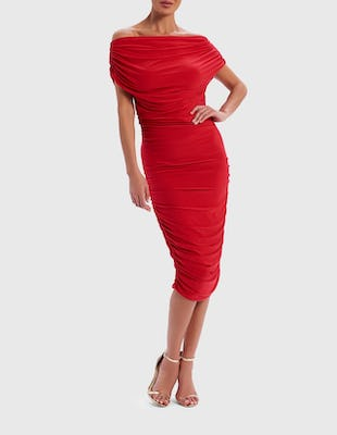 Red Off-Shoulder Ruched Midi Dress