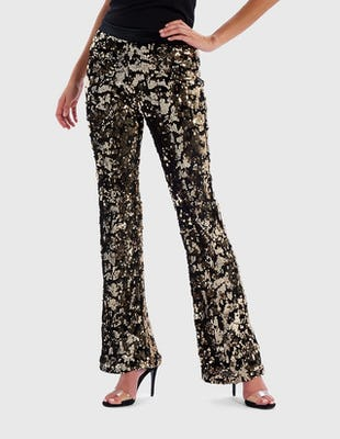 REBEL - Black and Gold Velvet Sequin Trousers
