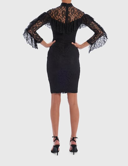 HARRIE - Black Long-Sleeved Lace Midi Dress