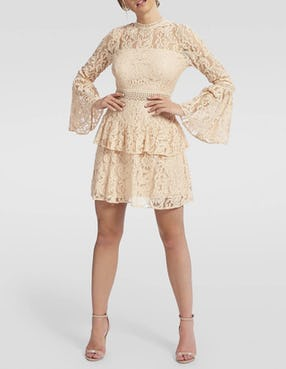 Nude Lace Layered Long Sleeved Dress
