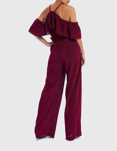Magenta Glitter Ruffle Jumpsuit with Belt