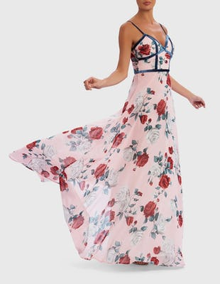 Pink Floral Maxi Dress with Velvet Detail