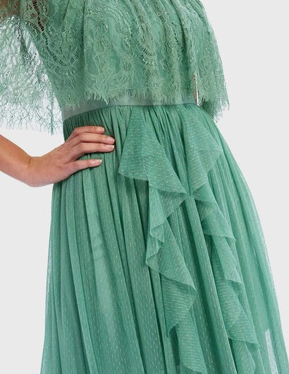 Mint Green Sparkly Ruffle Maxi Dress