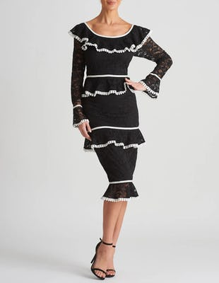 Black and Ivory Long Sleeved Lace Bardot Midi Dress
