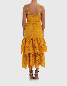 Yellow Laced Ruffle Midi Dress