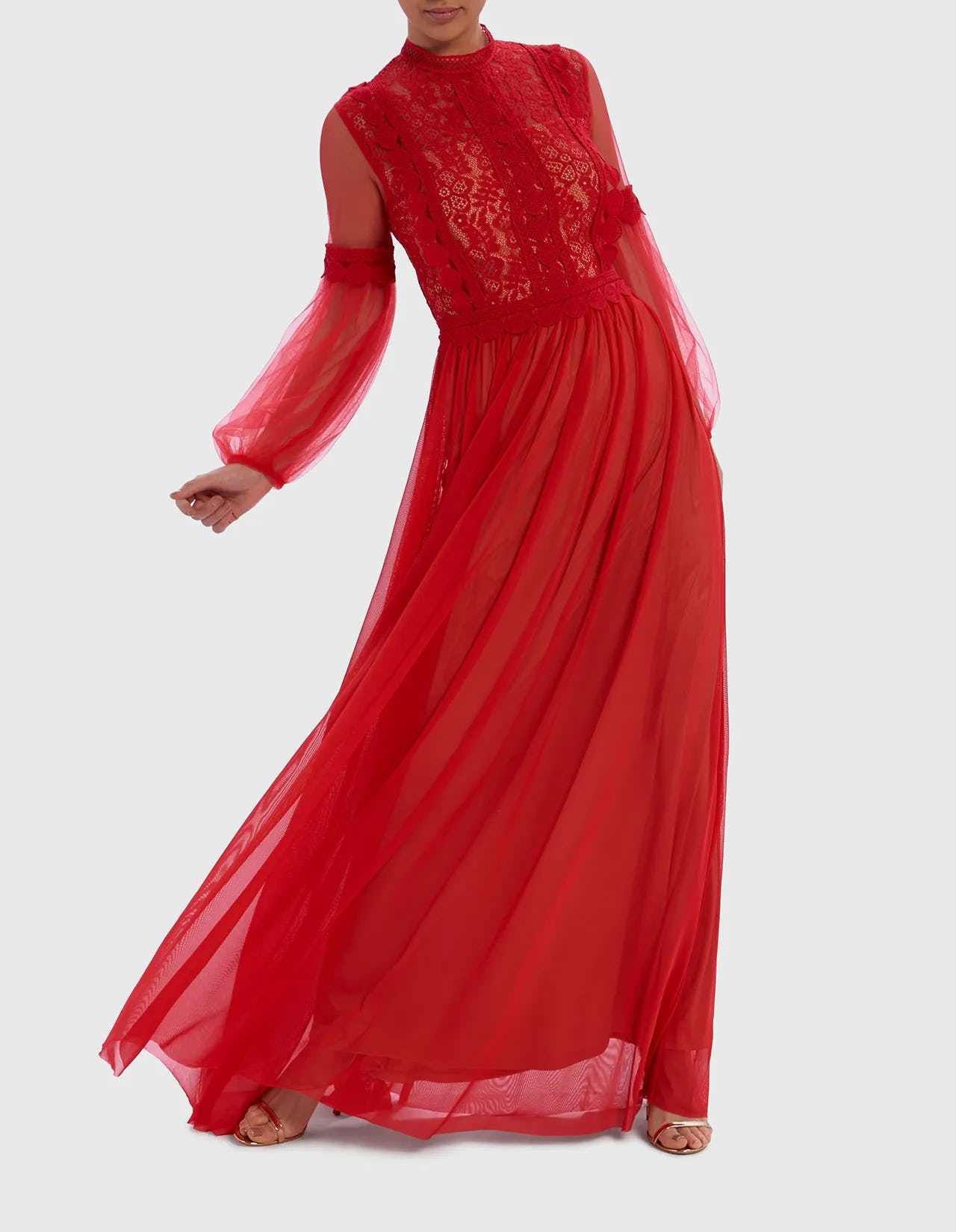 Red Lace Chiffon Long Sleeve Maxi Dress Forever Unique