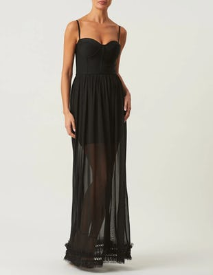 Black Bandage Maxi Dress with Sheer Skirt