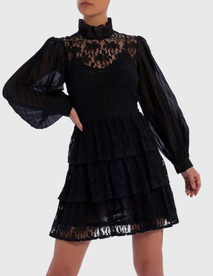 Black Long-Sleeved Pleated Mini Dress with Lace Top
