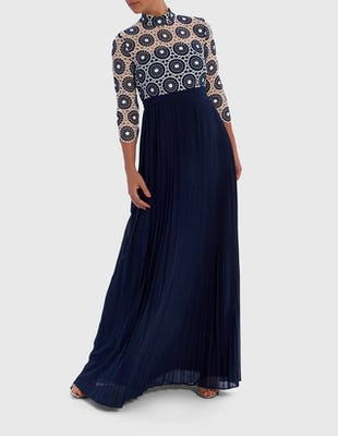 Navy Embroidered Pleated Maxi Dress
