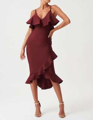 Maroon Ruffle Asymmetric Bodycon Midi Dress