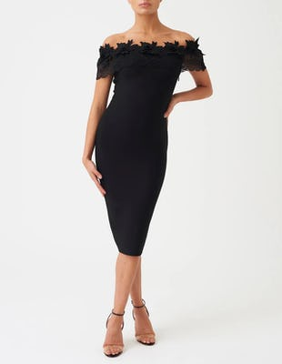 Black Embroidered Off the Shoulder Midi Dress
