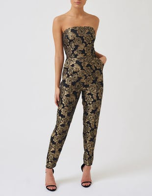 Black and Gold Floral Embroidered Strapless Cigarette Leg Jumpsuit