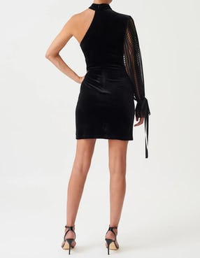 Black Crushed Velvet High Neck Mini Dress with Embroidered Sleeve Detail