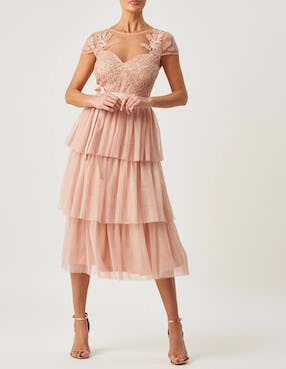 Pink Lace Tulle Midi Dress
