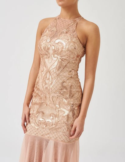 Nude and Gold Fishtail Mesh Maxi Dress